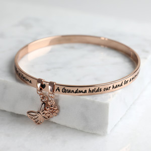 New 'Grandma' Meaningful Word Bangle Rose Gold