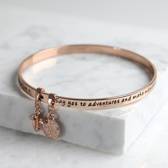 New 'Adventure' Meaningful Word Bangle Rose Gold