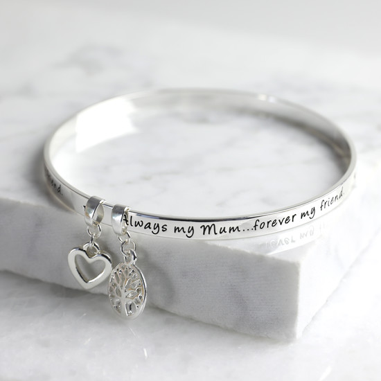 New 'Always My Mum Forever My Friend' Meaningful Word Bangle Silver