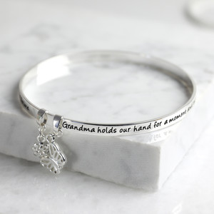 New 'Grandma' Meaningful Word Bangle Silver