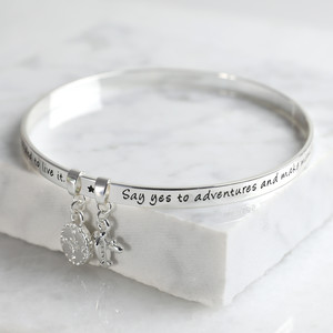New 'Adventure' Meaningful Word Bangle Silver