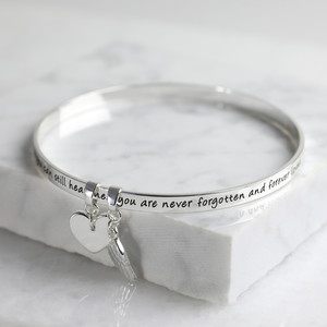 New 'Never Forgotten'  Meaningful Word Bangle Silver