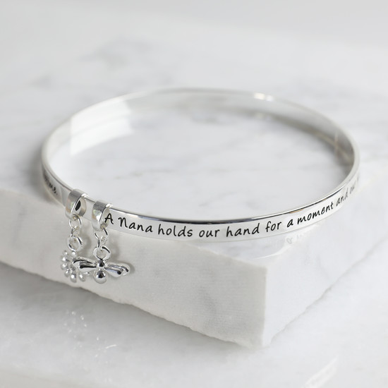New 'Nana' Meaningful Word Bangle Silver
