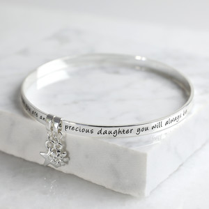 New 'Precious Daughter' Meaningful Word Bangle Silver