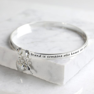 New 'Friend' Meaningful Word Bangle Silver