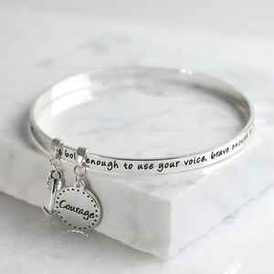 New 'Bold and Brave' Meaningful Word Bangle Silver