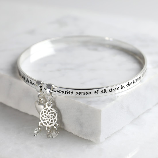 New 'Favourite Person' Meaningful Word Bangle Silver