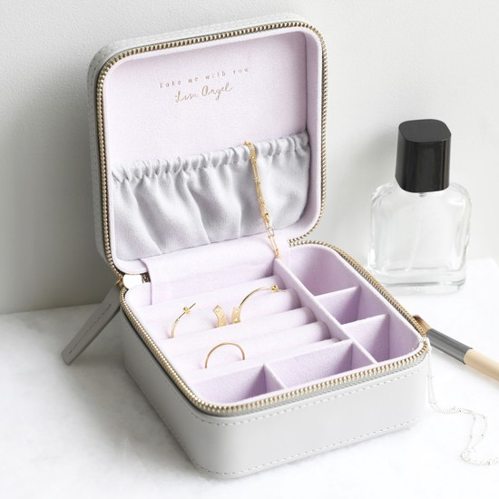 Grey & Lilac Square Travel Jewellery Box