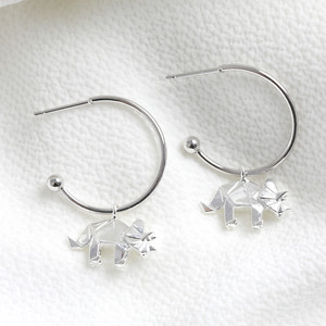 Origami dinosaur small hoop earrings silver