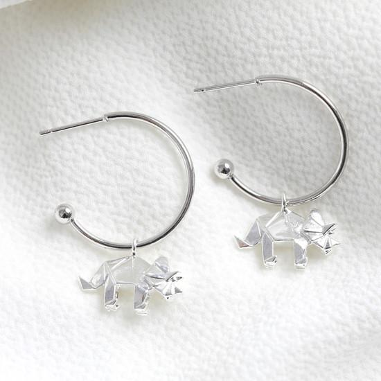 Origami dinosaur small hoop earrings silver
