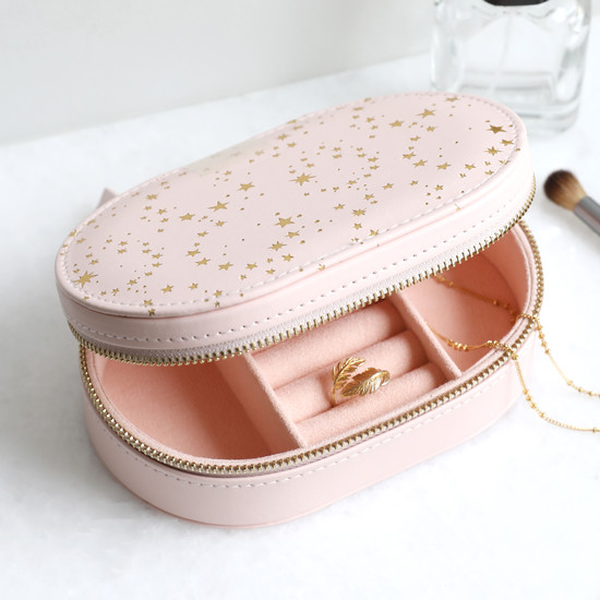 Pink with Gold Stars Oval Travel Jewellery Case