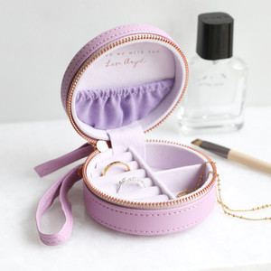 Purple Mini Round Travel Jewellery Case