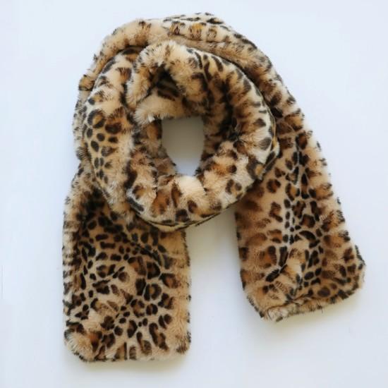 Faux Fur Leopard Print Long Scarf