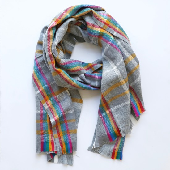 Rainbow and Grey Tartan Blanket Scarf