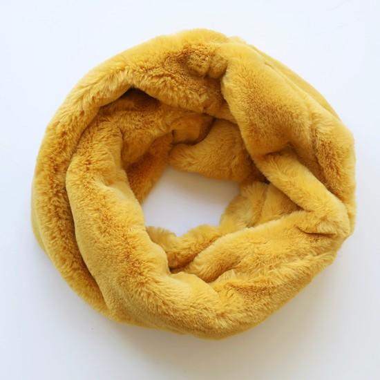 Faux Fur Snood in Mustard