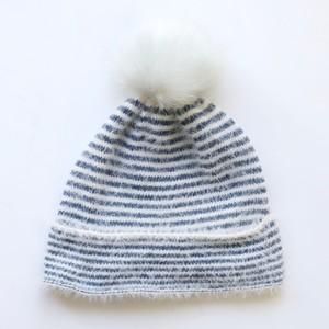 Blue and White Stripe Bobble Hat