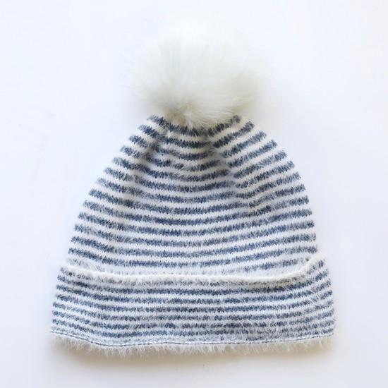 Blue and White Stripe Bobble Hat