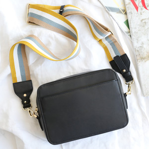 Zip Top Black Leather Bag with Open Front Pocket with webbing strap in mustard/white/blue/brown