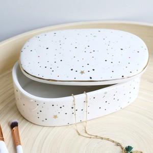 Ceramic Moon and Dots Trinket Box