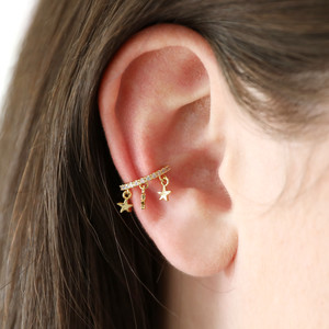 Gold Star ear cuff with opal cz