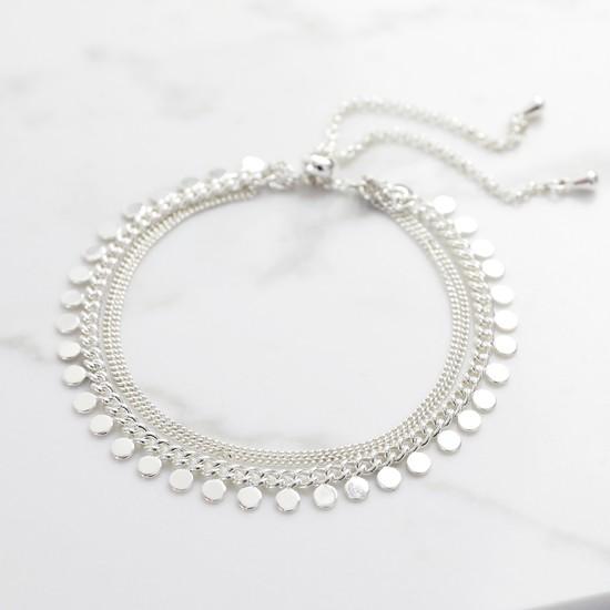 Silver Dotty Layer Toggle Back Bracelet