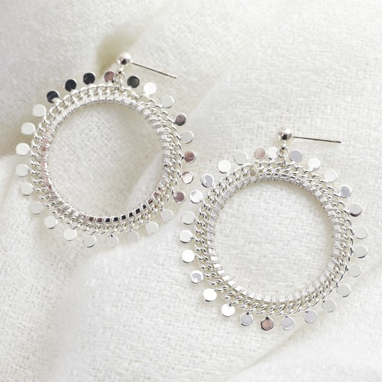 Silver Dotty Circle Drop Earrings