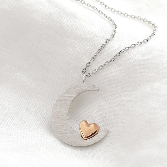 Silver moon and rose gold heart necklace