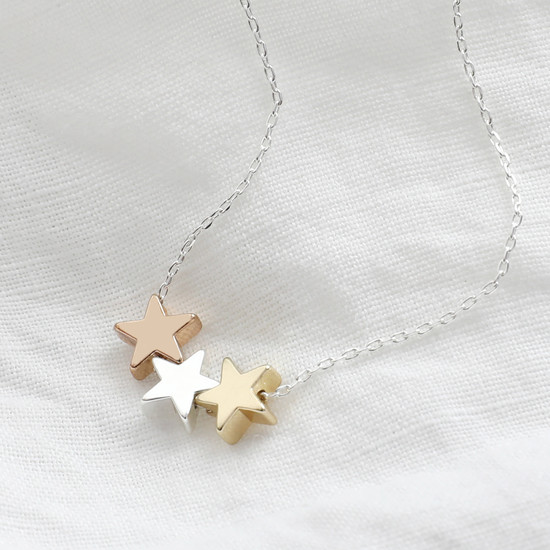 Mixed Metal Triple Star Bead Necklace