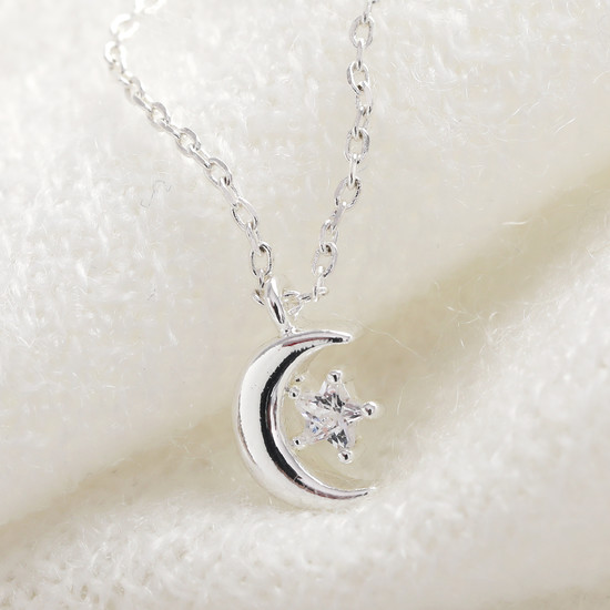 Crystal Moon Necklace in silver plate