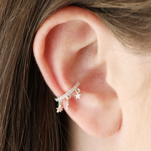 Silver Star ear cuff with opal cz