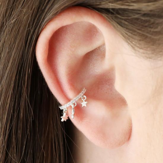Silver Star ear cuff with opal cz