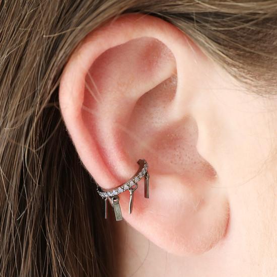 Black Bar ear cuff with opal cz