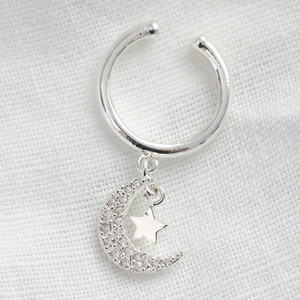 Silver Ear cuff with clear crescent moon&star