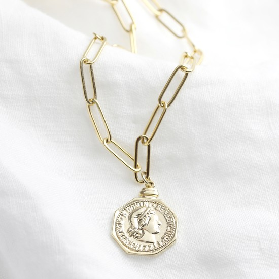 Gold Plated Heaxagon Coin Necklace