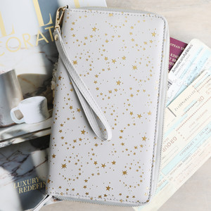 Grey with Gold Stars Travel Wallet