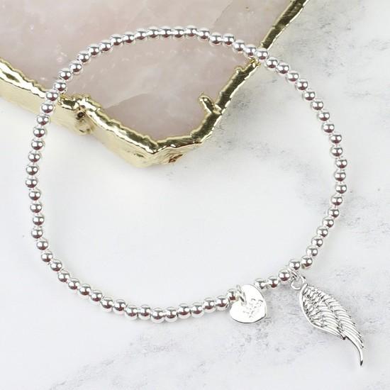 Beaded Wing Charm Bracelet in Silver