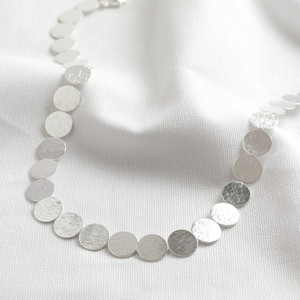 Brushed Large Disc Choker Necklace - Shiny Silver