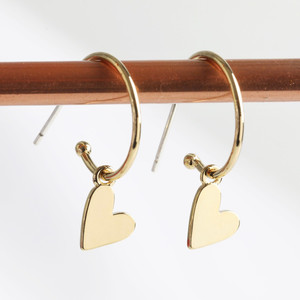 Falling Heart on Earring Hoop in gold plate