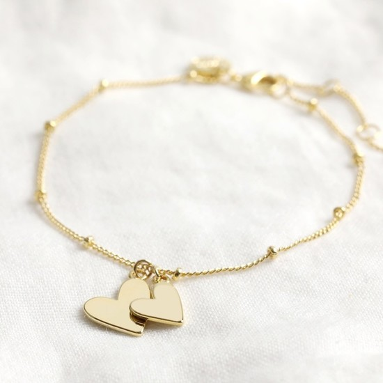 Falling Double Hearts on Satellite chain bracelet in gold plate