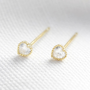 Gold plated sterling silver diamante heart stud earring