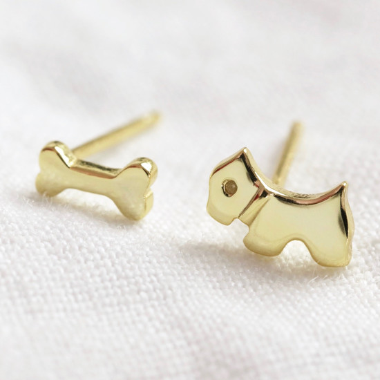 Mismatch dog and bone stud Sterling Silver