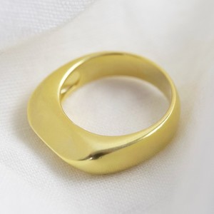 Gold Sterling Silver Thick Geometric Ring - size large