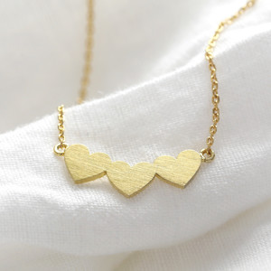Gold Triple heart necklace
