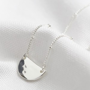 Hammered Half Moon Necklace in silver plate
