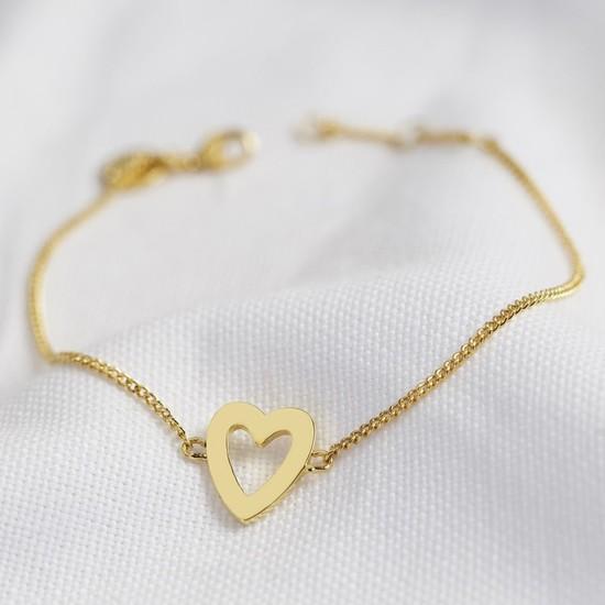 Heart Outline Bracelet in Gold