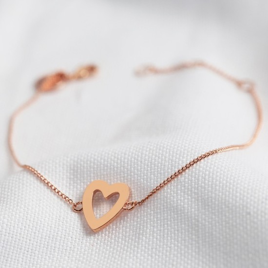 Heart Outline Bracelet in Rose Gold