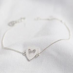 Heart Outline Bracelet in Silver