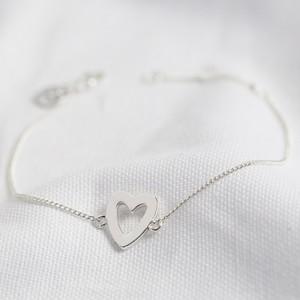 Heart Outline Bracelet in Silver