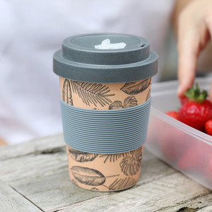 Pink Leaf Bamboo Coffee Cup