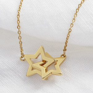 Double Outline Star Short Necklace in Gold